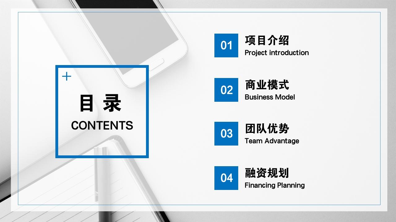 保險公司理財咨詢房地產公司完整商業計劃書PPT模版-目錄