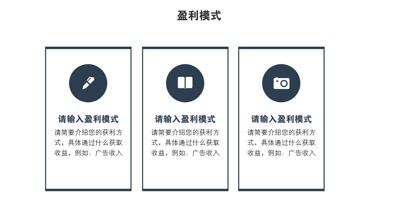 企業服務電影傳媒融資高端科技完整商業計劃書PPT模版-盈利模式