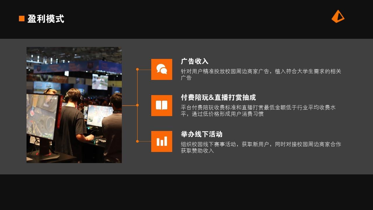 電競手游娛樂項目游戲社區行業商業計劃書PPT模板-盈利模式